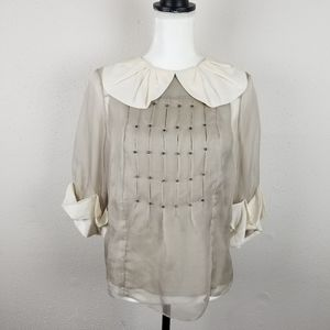 3.1 Phillip Lim Lined Silk Rhinestone Blouse Top